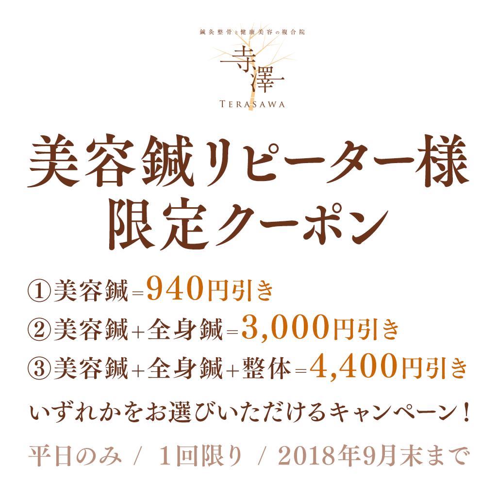 寺澤の美容鍼・リピーター様限定選べるクーポン